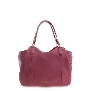 Salvatore Ferragamo Chain Strap Ginny Leather Tote Handbag - Red - M