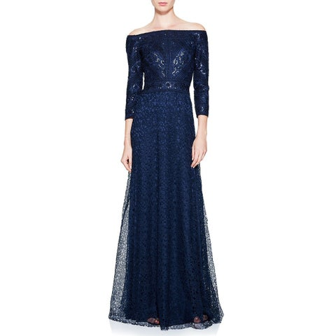 Tadashi Shoji Silana Off Shoulder 3/4 Sleeve Lace Evening Gown Dress Navy