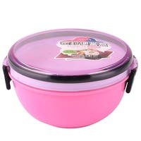 Unique Bargains Home Office Plastic Round Shaped Lunch Box Food Storage Container Pink