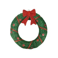 """18"""" Lighted Sisal Wreath with Stars and Bow Christmas Yard Art Decoration"""