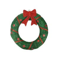 "18"" Lighted Sisal Wreath with Stars and Bow Christmas Outdoor Decoration"