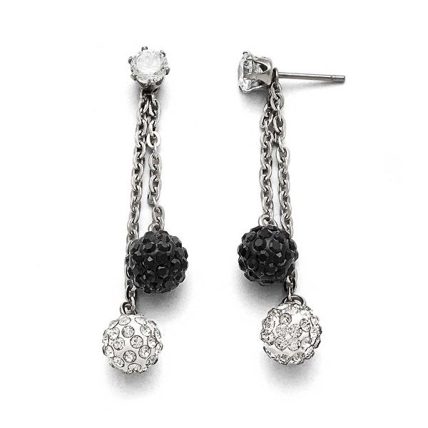 Chisel Stainless Steel Polished Black and White Crystal Post Dangle Earrings