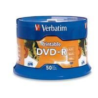Verbatim DVD-R, 95137, 4.7GB, 16X, White Inkjet Printable, 50PK Spindle, TAA