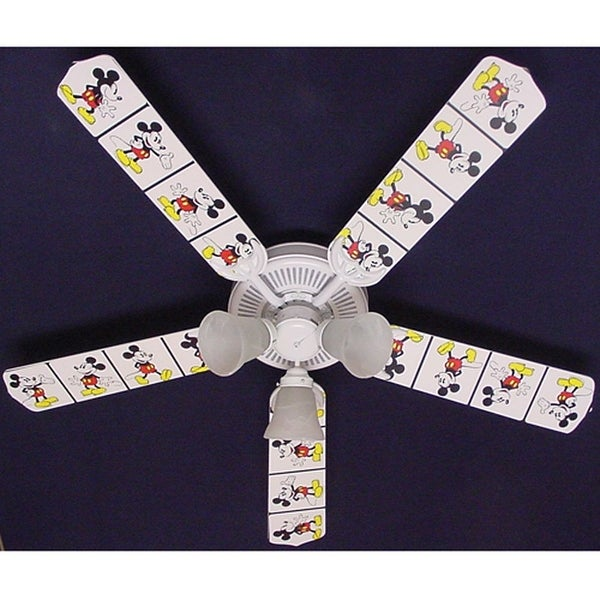 Disney's White Mickey Mouse Print Blades 52in Ceiling Fan Light Kit - Multi