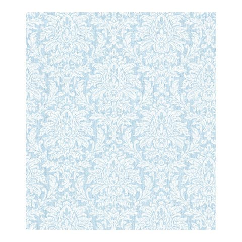 Angela Blue Transparent Damask Wallpaper - 324in x 27in 0.25in