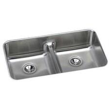 Elkay ELUHAQD3218 18 Gauge Stainless Steel 32.0625 x 18.5 x 8 in. Double Bowl Undermount Kitchen Sink