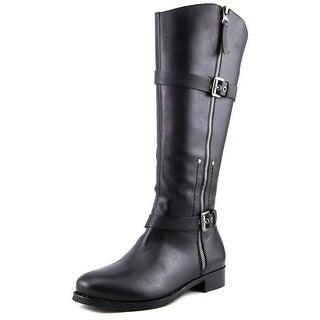 Matisse Militia Wide Calf Women W Round Toe Leather Black Knee High Boot