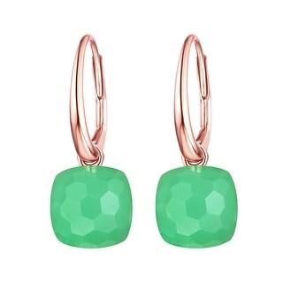 Vedantti Mini Honeycomb Cut Green Chrysoprase Gemstone Divine Leverback Earring