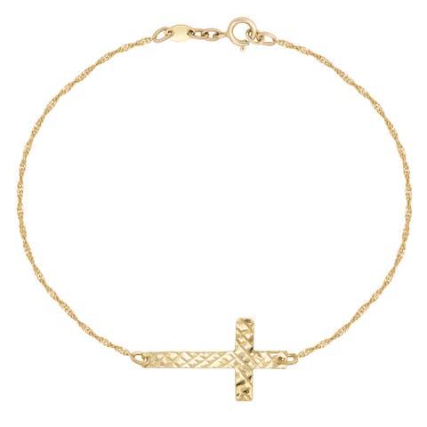 Forever Last 10 Kt Gold Side Cross Bracelet