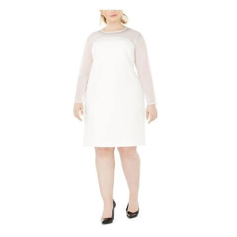 CALVIN KLEIN White Long Sleeve Above The Knee Dress 22W