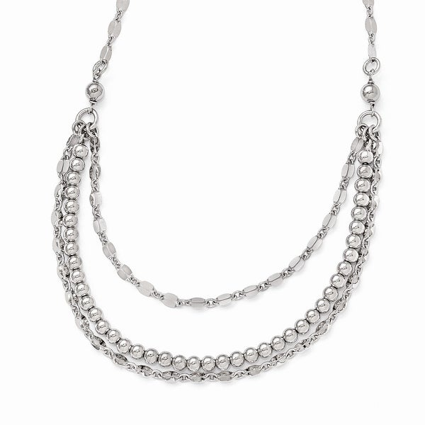 Italian Sterling Silver Polished and Beaded Necklace with 2in ext - 16 inches