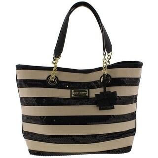 Betsey Johnson Womens Tote Handbag Faux Leather Striped - Black/Cream - Large