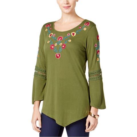 Ny Collection Womens Lace Bell Sleeve Pullover Blouse