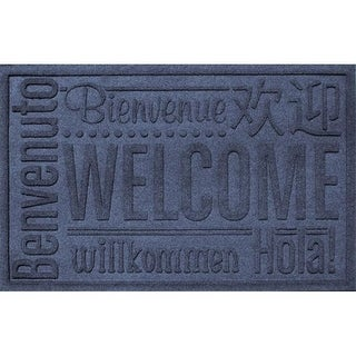 20356610023 Water Guard World Wide Welcome Mat in Navy - 2 ft. x 3 ft.