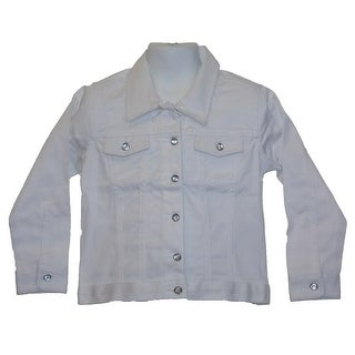 Little Girls Stretch Twill Straight White Jacket With Crystal Buttons 2T-4T