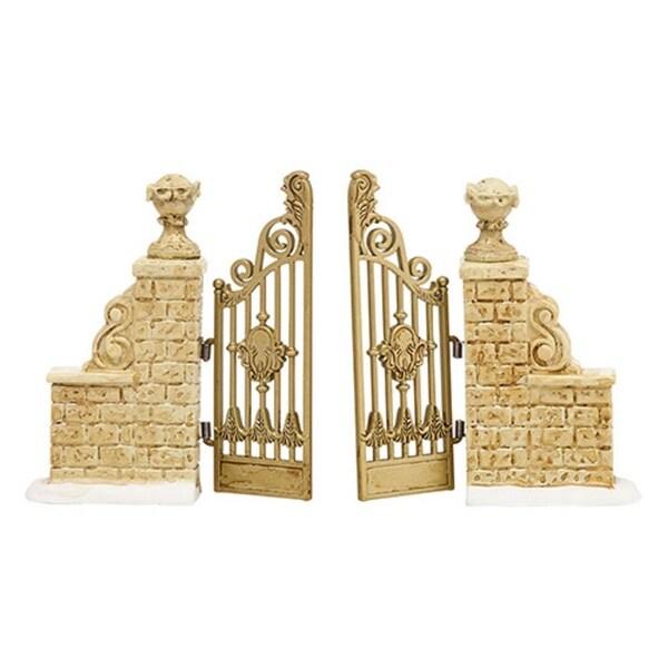 "Department 56 Snow Village ""Tudor Gardens Gate"" Porcelain Accessory #4038852 - WHITE"