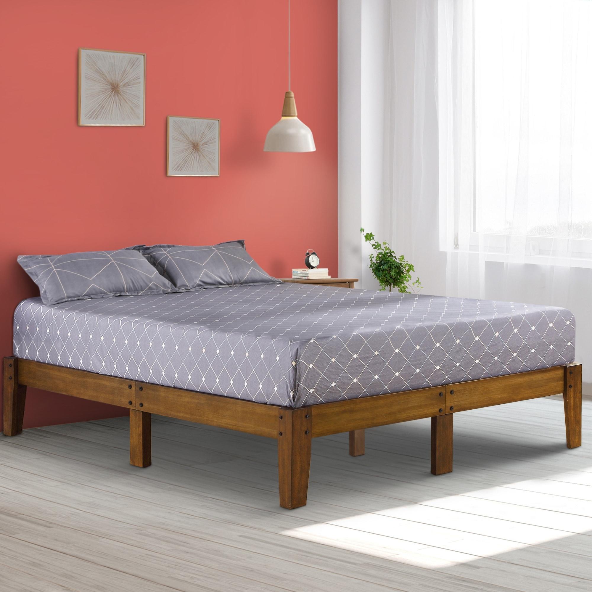 Sleeplanner 14 Inch Rustic Wood Queen Platform Bed Frame On Sale Overstock 22882026