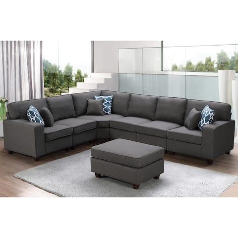 Casanova 7-piece Dark Gray Linen Modular Sectional Sofa and Ottoman