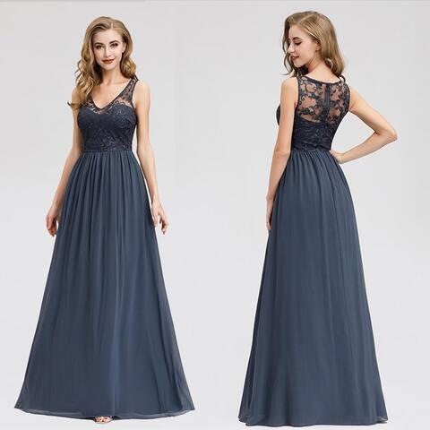 Ever-Pretty Womens Elegant Chiffon Long Maxi Formal Prom Dance Dresses for Women 07999
