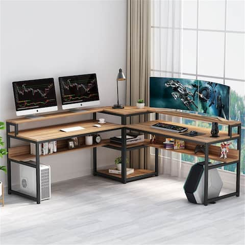 L-Shaped Computer Desk with Storage Shelves and Monitor Riser, Study Writing Desk