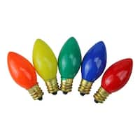 Pack of 25 Incandescent C7 Opaque Multi-Color Christmas Replacement Bulbs - multi