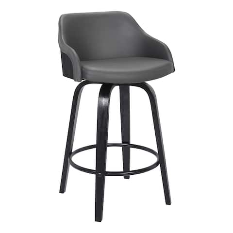 26 Inch Wooden and Leatherette Swivel Barstool, Black and Gray