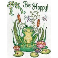 """Be Hoppy (Frog) Counted Cross Stitch Kit-8""""X10"""" 14 Count"""