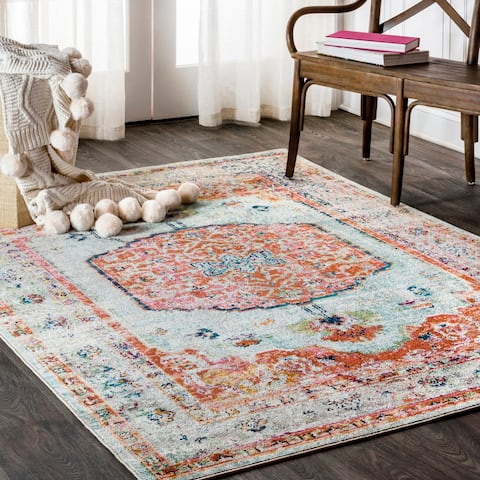 JONATHAN Y Andalus Vintage Medallion Coral/Ivory Area Rug
