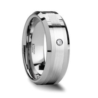 THORSTEN LAURENT Platinum Inlaid Beveled Tungsten Ring With Diamond 6mm