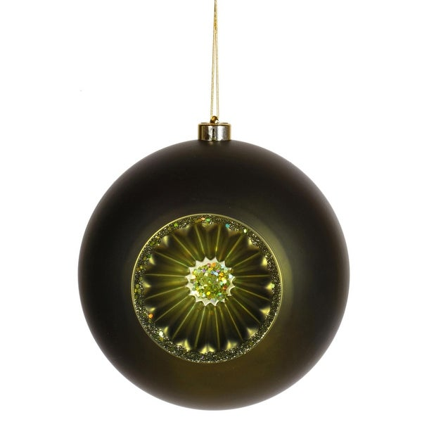 "Matte Olive Green Retro Reflector Shatterproof Christmas Ball Ornament 8""(200mm)"