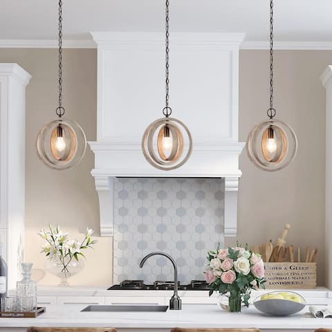 """Farmhouse Wood Kitchen Island Pendant Lights for Living/ Dining Room - W12""""xH14"""""""