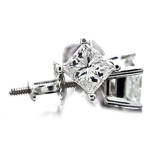 14K White gold Diamond Earrings Princess Cuts Natural Diamonds 0.50ctw Screw Back - White G-H