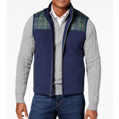 Brooks Brothers Mens Small Quilted Fleece Vest Full-Zip Sweater