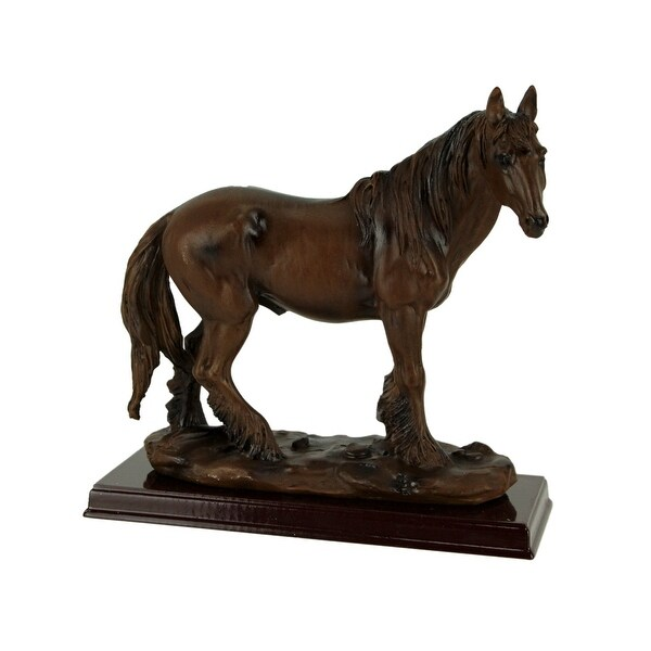 Brown Feathered Foot Standing Horse Statue On Wood Base - 6.75 X 7 X 2.75 inches