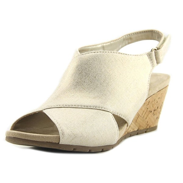 Bandolino Gennesse Women Open Toe Canvas Gold Wedge Sandal