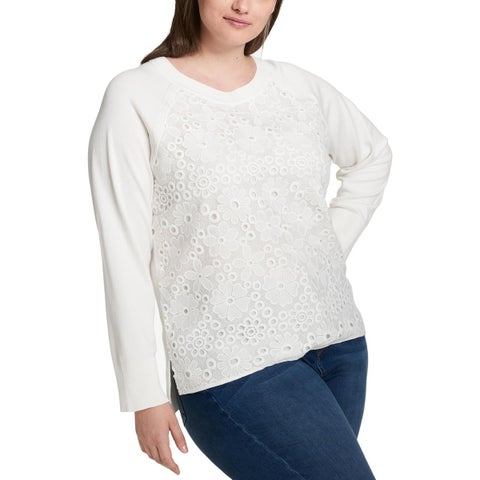 Tommy Hilfiger Womens Plus Pullover Sweater High Low Crochet Lace