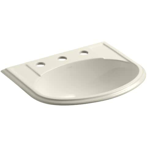 "Kohler K-2279-8 Devonshire 17"" Drop in Bathroom Sink with 3 Holes Drilled and Overflow"