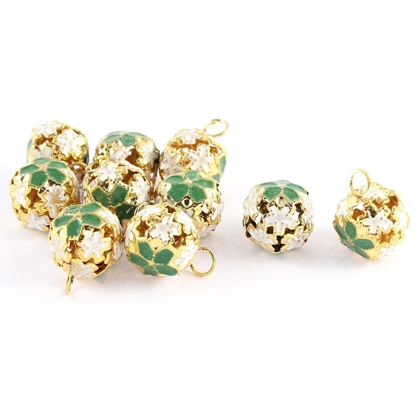Unique Bargains 10 Pcs Christmas Decor Hollow Out Design Flower Shaped Ring Jingle Bell Green