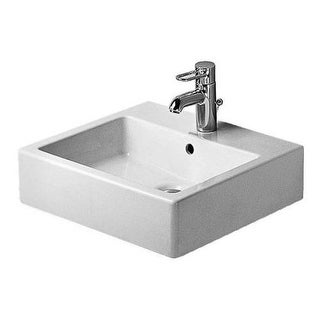 "Duravit 454500000 Vero 19-5/8"" Ceramic Bathroom Sink for Vanity or Wall Mounted Installations with Single Faucet Hole and"