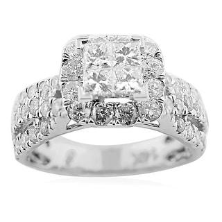 2.00ctw Diamond Bridal Wedding Ring 14K White Gold Princess Cut and Round Diamonds