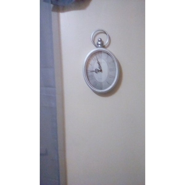 Stratton Home Decor Antique Silver Oval Wall Clock On Sale Overstock 18537137
