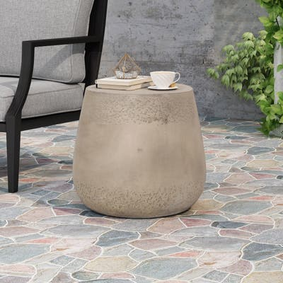 """Orion Outdoor Contemporary Lightweight Concrete Accent Side Table by Christopher Knight Home - 19.00""""W x 19.00""""D x 16.25""""H"""