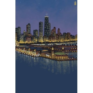 Chicago, Illinois - Navy Pier and Skyline - NO TEXT - Lantern Press Artwork (Cotton/Polyester Chef's Apron)