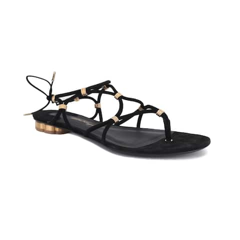 SALVATORE FERRAGAMO Women's Leather Metallic Link Sandal Shoes Black