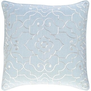 """18"""" Pale Blue and White Woven Decorative Throw Pillow"""