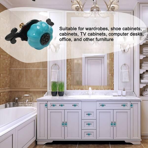 Unique Pumpkin Ceramic Cabinet Knobs Furniture Drawer Wardrobe Door Pull Handle