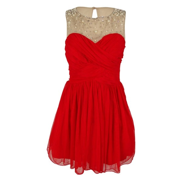 238aa45d639 Shop City Studio Juniors  Embellished Pleated Dress - Tomato Red - 9 - On  Sale - Free Shipping On Orders Over  45 - Overstock.com - 14818049