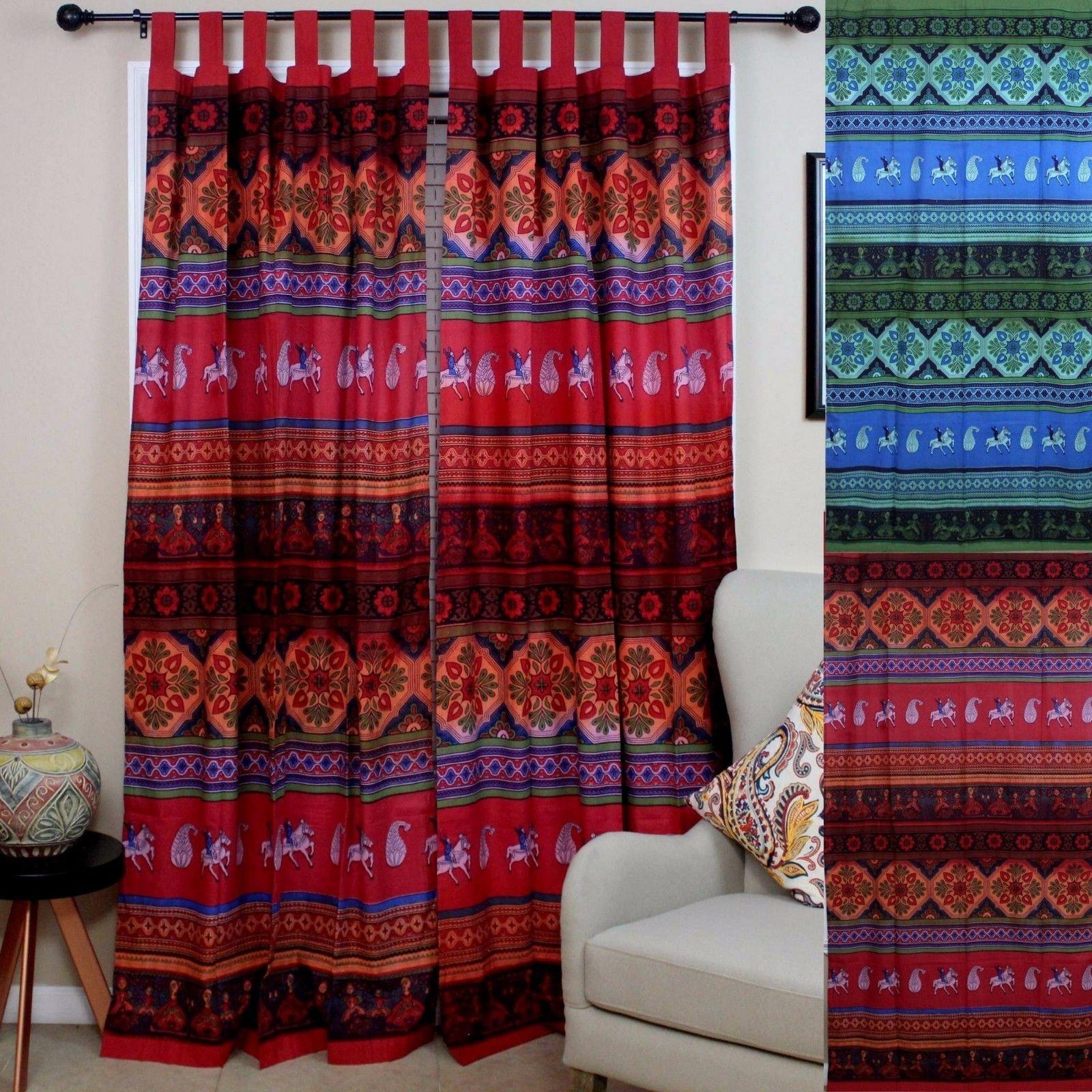 Handmade 100% Cotton Kalamkari Floral Tie Dye Tab Top Curtain Drape Panel - Red & Blue Green - 44 x 88 inches - Thumbnail 0