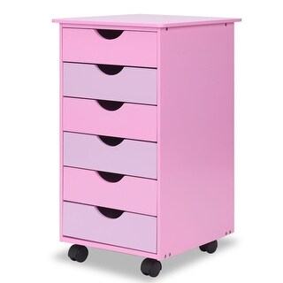 Costway 6-Drawer Wood Mobile File Cabinet Rolling Organizer Storage Office Home Pink