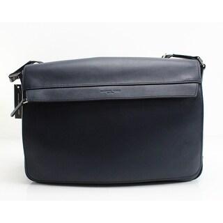 MICHAEL KORS Blue Navy Odin Resina Large Leather Messenger Bag